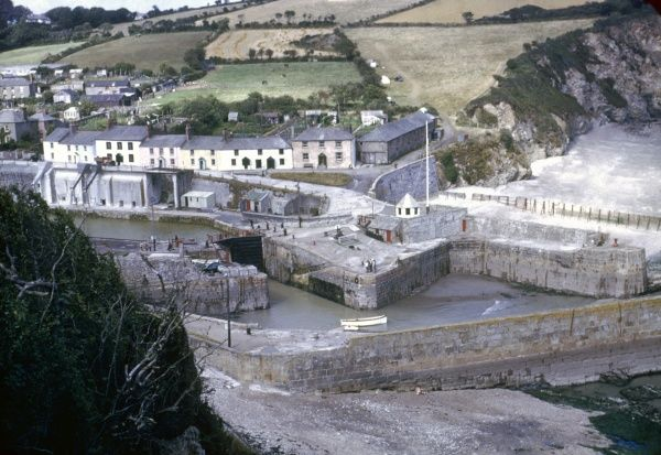 Aerial view of St Austell harbour in Cornwall, with fields in the background. Photograph by Heinz Zinram Date: 1952