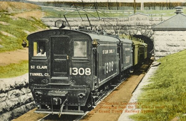 Electric Locomotive emerging from the St Clair Tunnel (1890) - part of the 'Grand Trunk Railway System'. The first submarine rail tunnel connecting Sarnia, Ontario, Canada with Port Huron, Michigan, USA Completed in 1890, closed in 1994