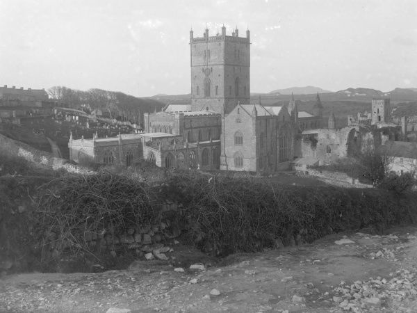 View of St David's Cathedral from the east, Pembrokeshire, Dyfed, South Wales. The Cathedral dates from the 12th century