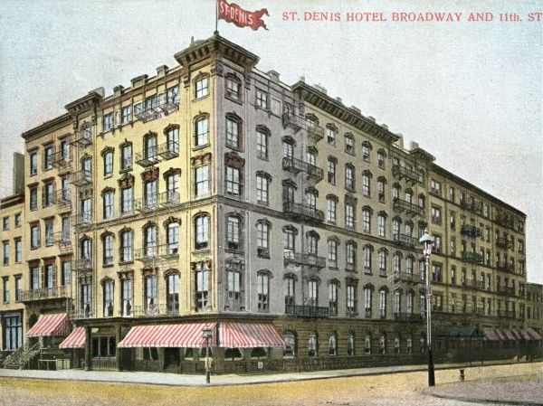 St. Denis Hotel on Broadway and 11th Street, New York City, America