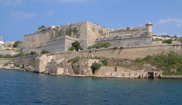 The waterfront ruins and fortifications at St Elmo Point, Valletta, Malta