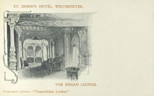 St. Ermin's Hotel, Westminster, London - The Indian Lounge Date: circa 1910