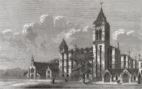 Design for the new St George's Union infirmary on Fulham Road, south west London. The architect was Henry Saxon Snell