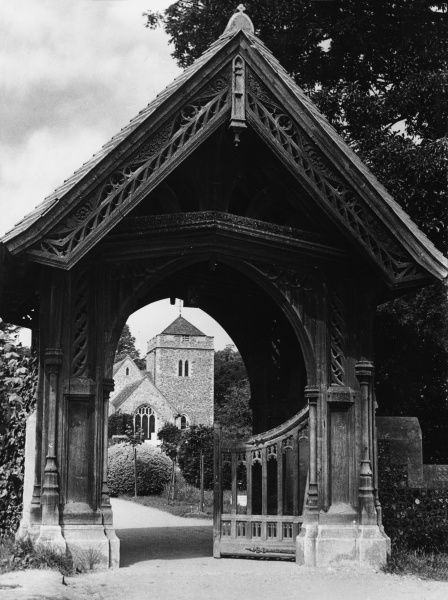 The elaborate lychgate of St. Giles Church, Stoke Poges, Buckinghamshire, England. The church and its churchyard are immortalised in Thomas Gray's 'Elegy&#39