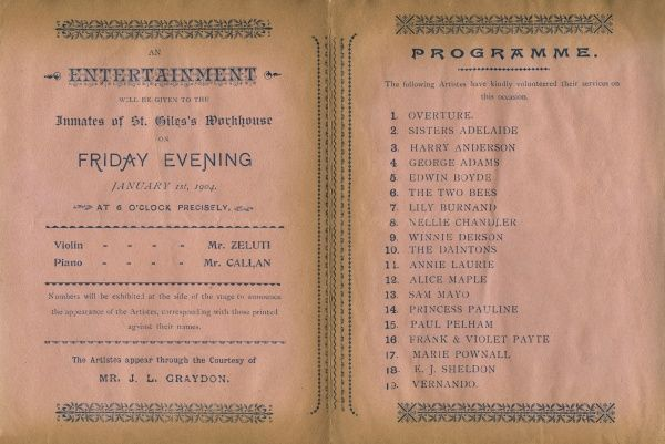 Programme for a concert given to the inmates of London's St Giles' workhouse on Friday 1 January 1904. Date: 1 January 1904