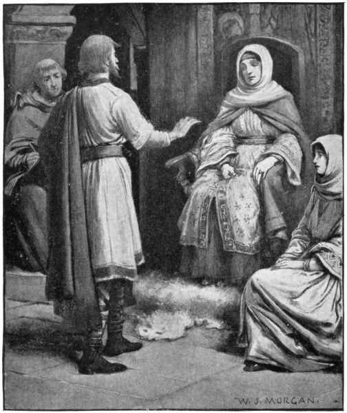 SAINT HILDA OF WHITBY Anglo-Saxon abbess, receiving a visit from Caedmon