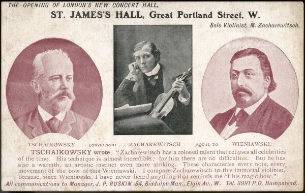 Advertisement for opening night concert of the new St James Hall in Great Portland Street showing Tchaikovsky, Zacharewitsch and Wieniawski