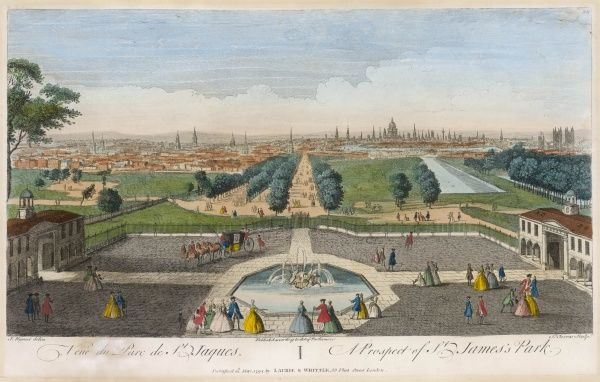 A striking view of the park as seen from Buckingham House : Whitehall and Trafalgar Square are inconspicuous, the City a distant prospect, the Mall a delightful place for strolling