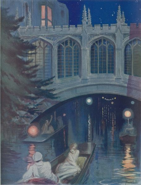 An illustration showing a romatic night-time gondola ride
