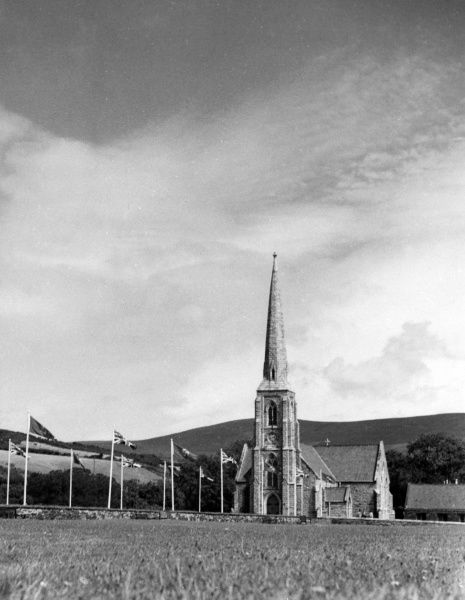 St. John's Church, on Tynwald Hill, Isle of Man, where a service is held every year, on 5th July, before the ceremony of choosing a new Parliament takes place on Tynwald Hill. Date: 1960s photo