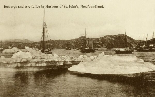 St. Johns - Newfoundland - Icebergs and Arctic Ice Floes in the Narrows Date: circa 1910s