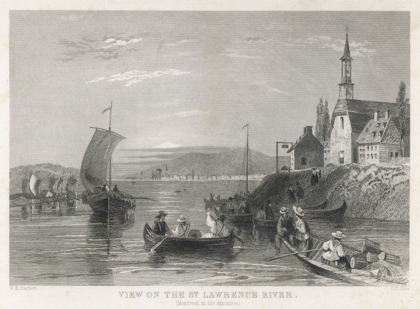 A scene on the St Lawrence River, Canada. Montreal can be seen in the distance