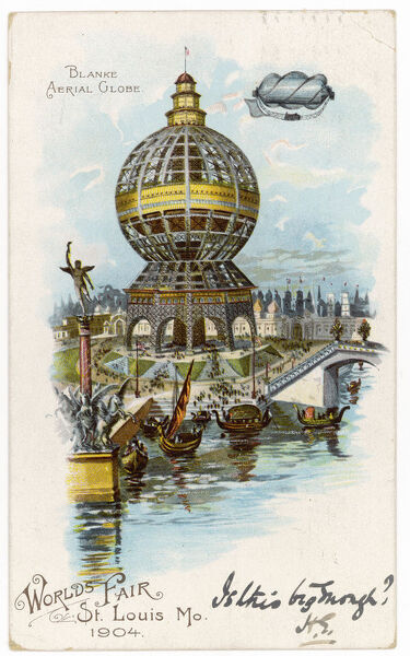 This postcard, which shows the Blanke Aerial Globe, was launched to promote the St. Louis World Fair in 1904, but the postmark on the back indicates it was sent in 1902!
