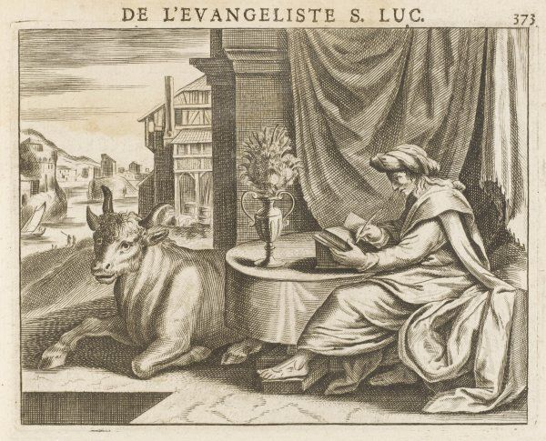 SAINT LUKE the Evangelist busy writing his book ; he's fond of the bull, but he keeps a vase of flowers between it and him, to disguise the smell