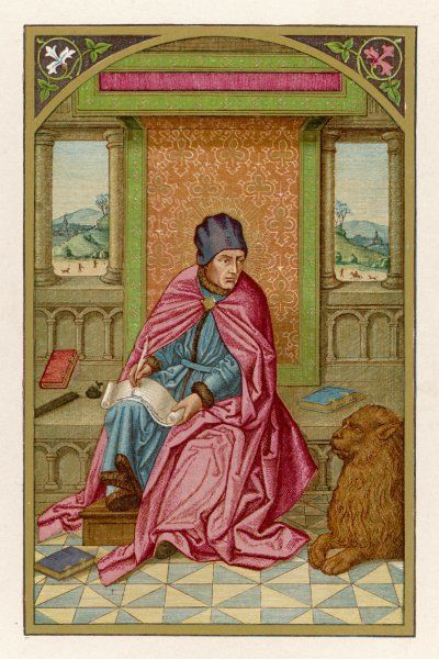 SAINT MARK THE EVANGELIST writing his gospel, watched by a sedate lion