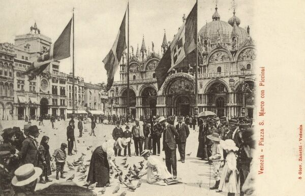St Mark's Square - Venice, Italy - feeding the pigeons. Date: circa 1910s