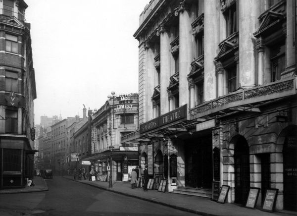 St Martin's and Ambassadors Theatres in West Street, near Charing Cross Road, in London's West End. Date: 1947