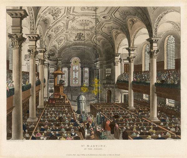 To hear a popular preacher in St Martins, Trafalgar Square, the congregation fill not only the box pews but also the galleries and there's standing room only in the aisle