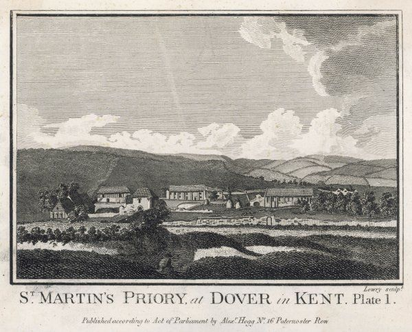 PRIORY OF SAINT MARTIN of Tours, Dover, Kent in use as a farm during the 18th century. Founded in 1131 under Henry I & dissolved in 1535 under Henry VIII