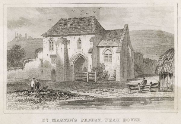 PRIORY OF SAINT MARTIN of Tours, Dover, Kent in use as a farm since the 18th century. The Gate house was to become the library of Dover College Prep School in the 1870s