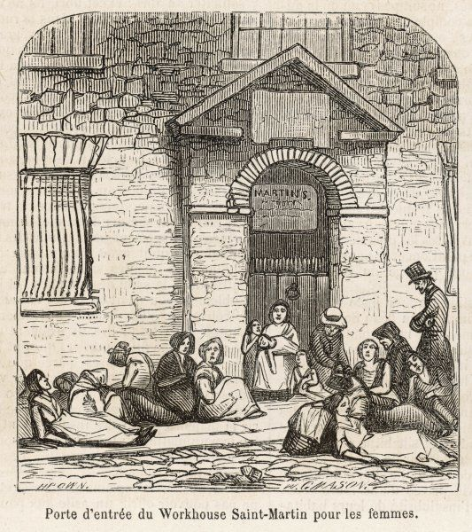 London : homeless women waiting to be admitted to St Martin's Workhouse for women