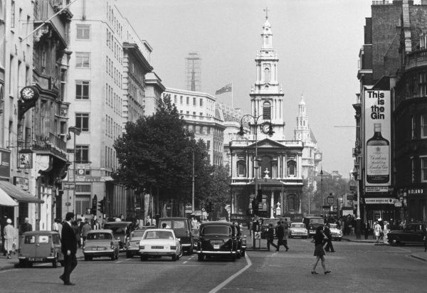 The church of St. Mary-le-Strand, on a traffic island in the middle of the Strand, central London, England. It was designed by James Gibbs. Date: completed 1717