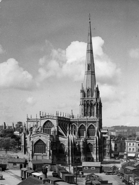 The church of St. Mary Redcliffe, Bristol, was founded in 1292 by Simon de Burton. In 1446 the spire was struck by lightning, causing considerable damage. Date: 1950s