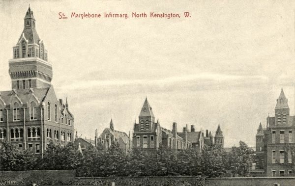 The St Marylebone workhouse infirmary on Rackham Street, North Kensington, West London