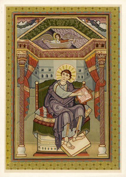 SAINT MATTHEW THE EVANGELIST from a Franco-German manuscript made about 800