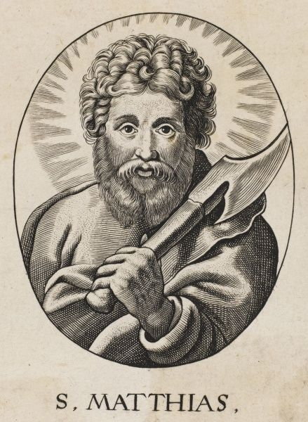Saint MATTHIAS, apostle chosen to replace Judas Iscariot, who defected : the axe he holds is the one which was used to remove his head
