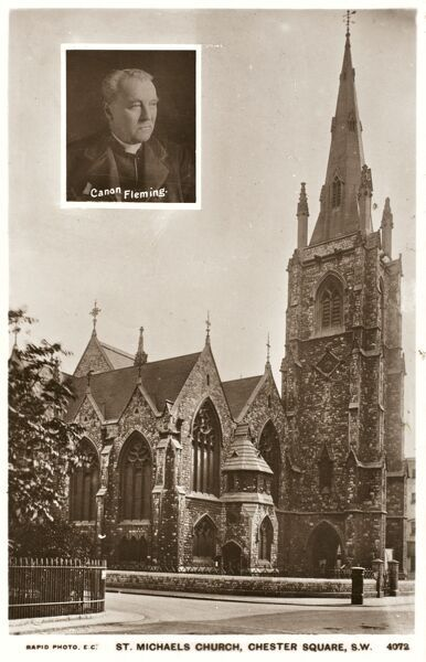 St Michael's Church, Chester Square, Pimlico, London. Inset photograph of the priest, Canon Fleming