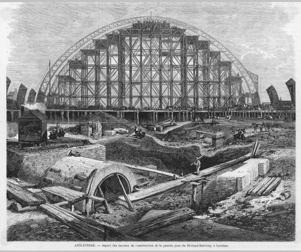 The magnificent canopy of the new Midland Railway terminus takes shape near the Euston Road