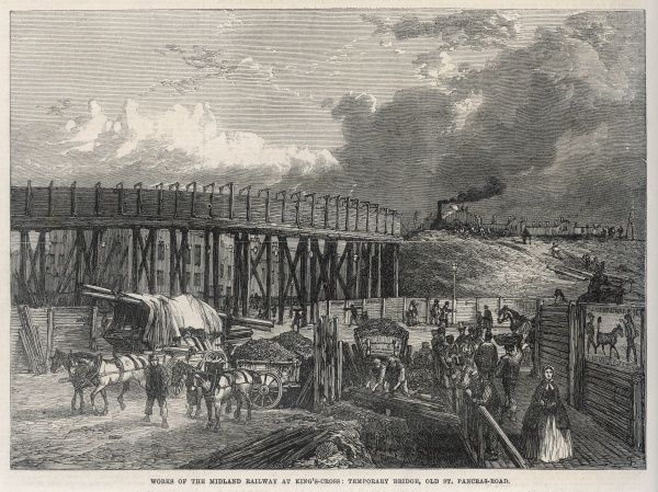 Midland Railway works at Saint Pancras temporary bridge over the Old St Pancras road