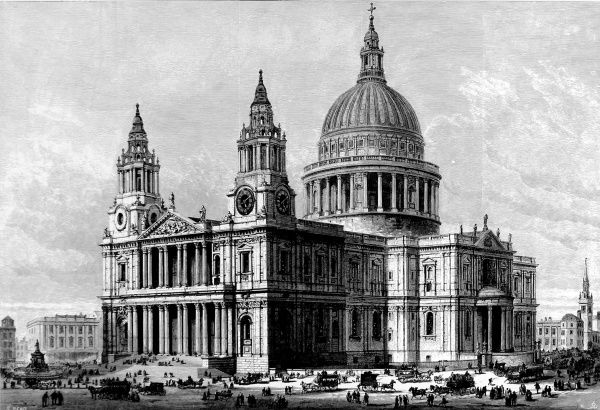 Engraving showing St. Paul's Cathedral, viewed from the West, 1883