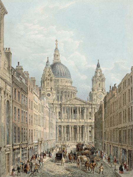 The front of the cathedral is largely hidden by the shops of Ludgate Hill, preventing Wren's magnificent design from achieving its full effect