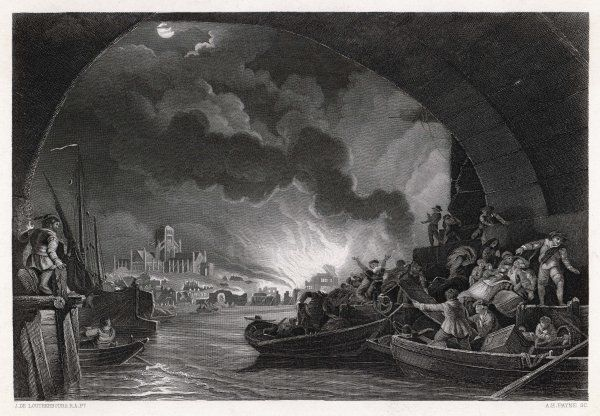 Terrified citizens shelter beneath London Bridge as the fire rages through the City : St Paul's cathedral still stands, but not for long