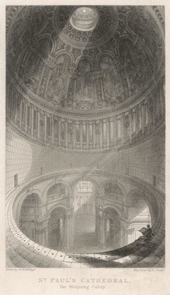 A dramatic view of the WHISPERING GALLERY a notable feature of Wren's design : tourists love the way a whisper can be heard throughout its circumference