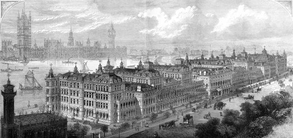 View of the newly opened buildings on the Southern Thames Embankment at Lambeth. St Thomas's was relocated so the London Bridge terminus could be enlarged