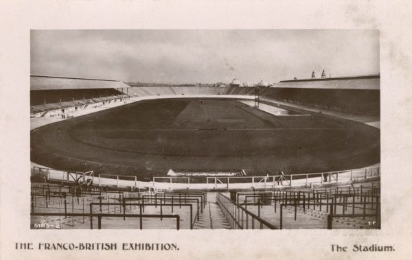View inside the Stadium at the Franco-British Exhibition, held at White City, West London. Date: 1908