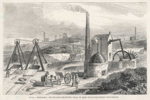 A steam engine drawing coal in the Staffordshire collieries