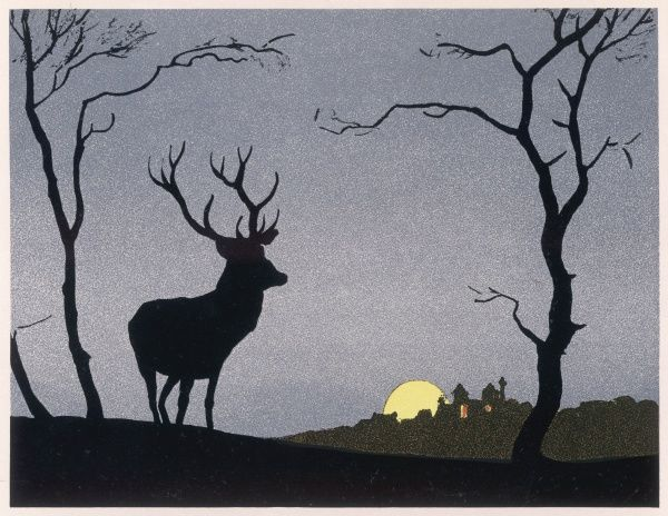 A stag stands silhouetted against the evening sky, while a full moon rises beyond yon stately home whose residents are even now planning to hunt it on the morrow