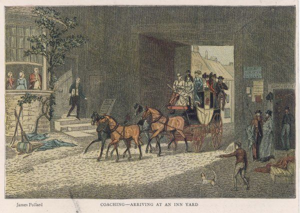 A stagecoach arrives in the courtyard of a country inn