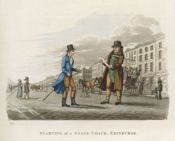 A stagecoach leaving from Prince's Street, Edinburgh