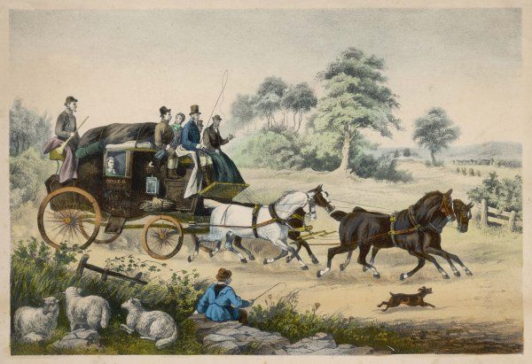 The Dover coach passes a shepherd boy and his sheep