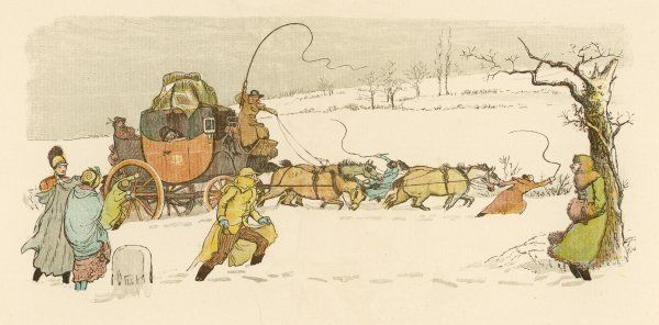 The stagecoach horses pull their coach through heavy snow