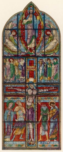 A magnificent representation of Jesus's crucifixion in a brightly coloured window at Poitiers, France