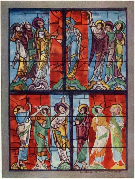 The Apostles watch the ascension of Jesus in this window at Le Mans, France, supposed to date from the 13th century