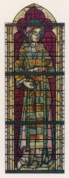 Saint Stephen wears a many- coloured dream coat in this window in York minster