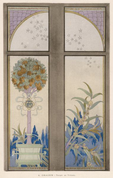 A pretty design for painted glass by a leading designer which includes a standard orange bush in a tub and a star-strewn sky