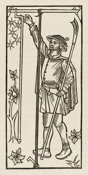 A 16th century husbandman plants a stake for climbing plants - illustration to Richard Pynson's printing of 'The Kalender of Shepardes&#39
